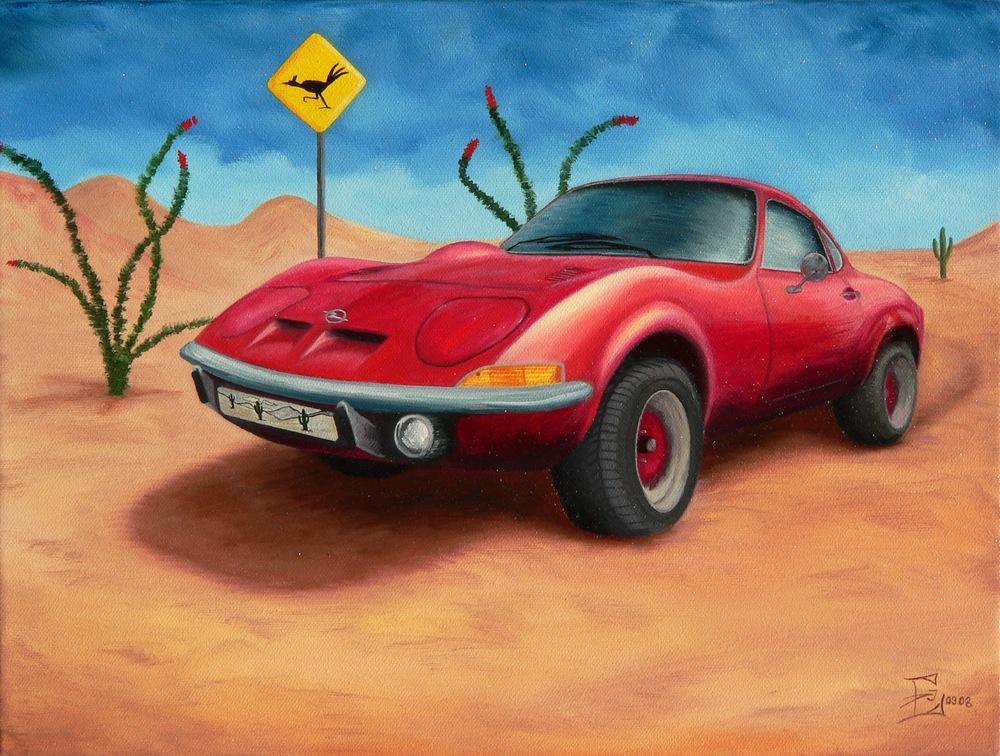 Opel GT in der Wüste, 09/2008