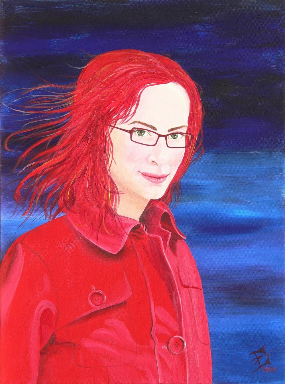 Selbstportrait mit rotem Mantel, 04/2006