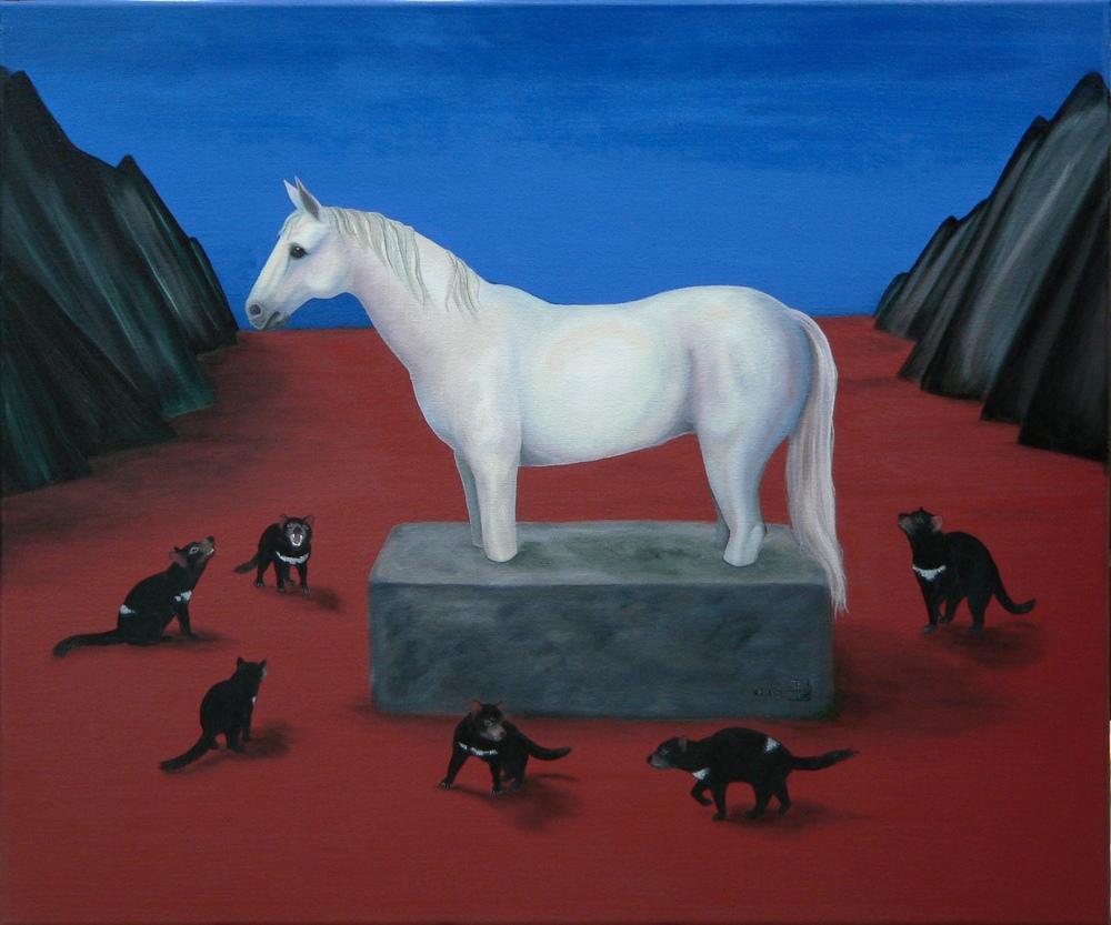 Schimmel mit Tasmanischen Teufeln, 08/2009