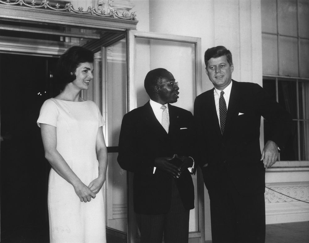 Senegal's first president, Leopold Senghor, with US President John F. Kennedy and First Lady Jacqueline Kennedy. Photo Credit: Abbie Rowe. White House Photographs. John F. Kennedy Presidential Library and Museum, Boston