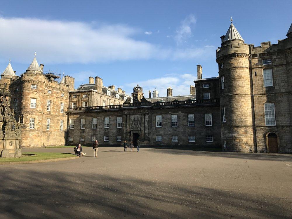 Outside  Holyrood Palace