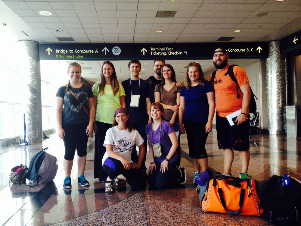 Most of our Team at the Denver Airport, 8pm