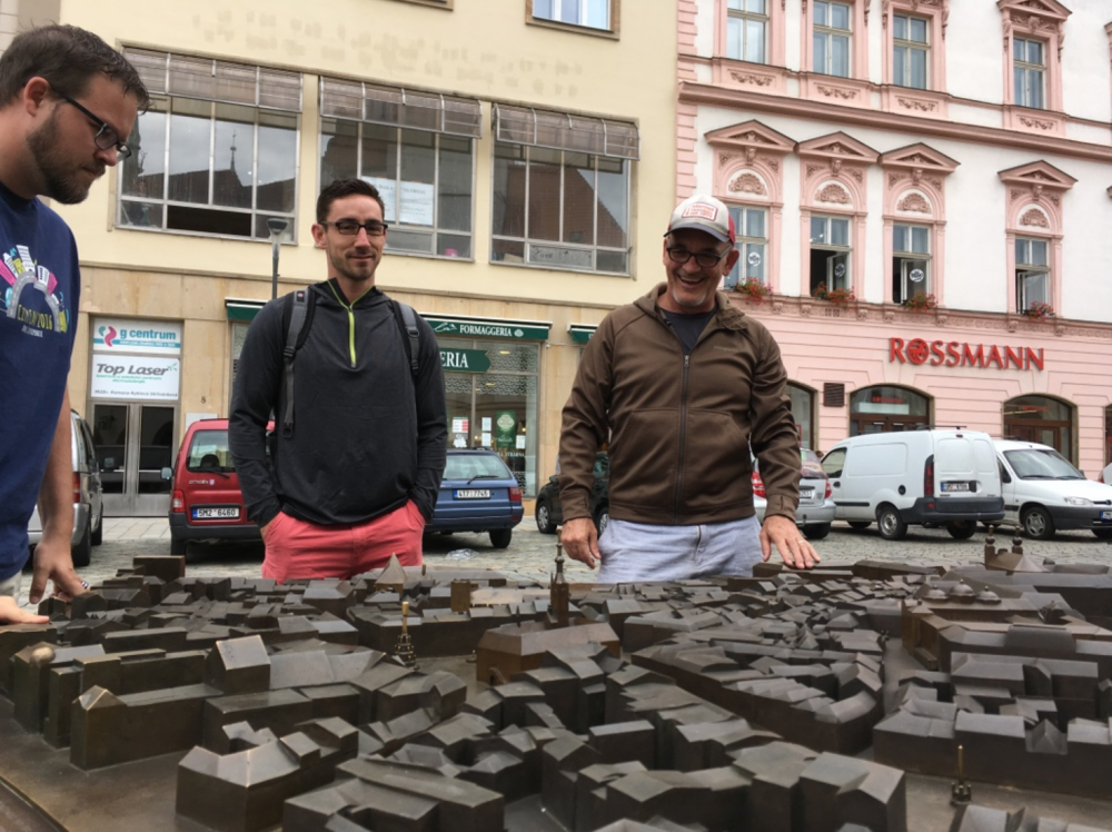 Checking out a model layout of Olomouc with Eddy and Trevor.
