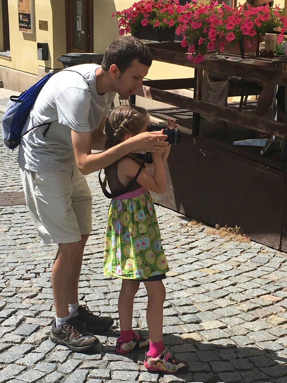 Our good friend Devin showing Nora how to use the camera. It was great having him out here to visit on his short term mission trip.