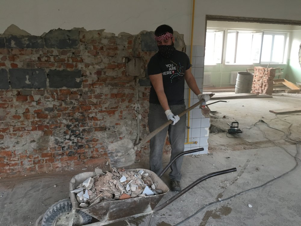 Doing demolition work on the new Church office space in Vsetin