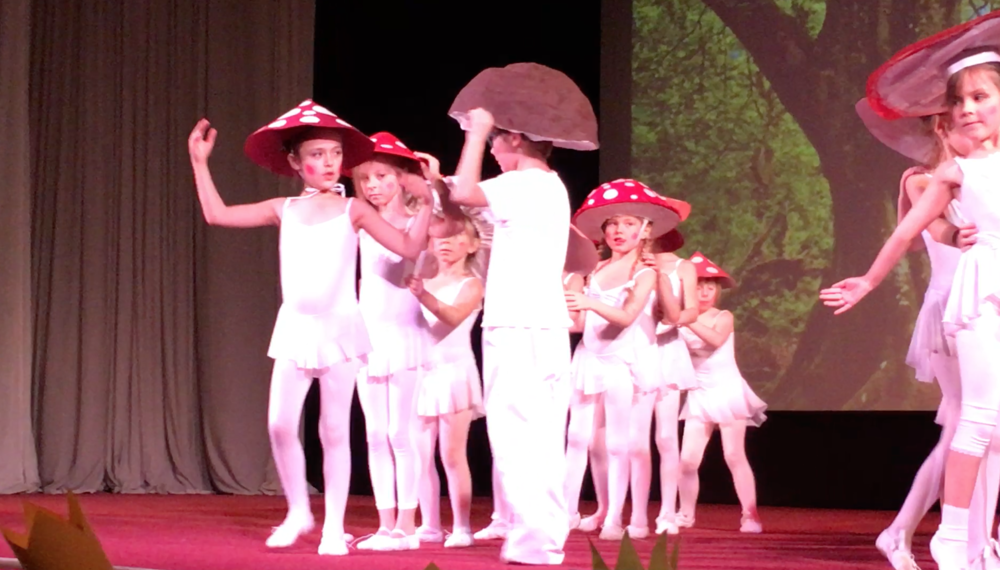 "Addey and Nora during their ballet recital ""Snow White."""