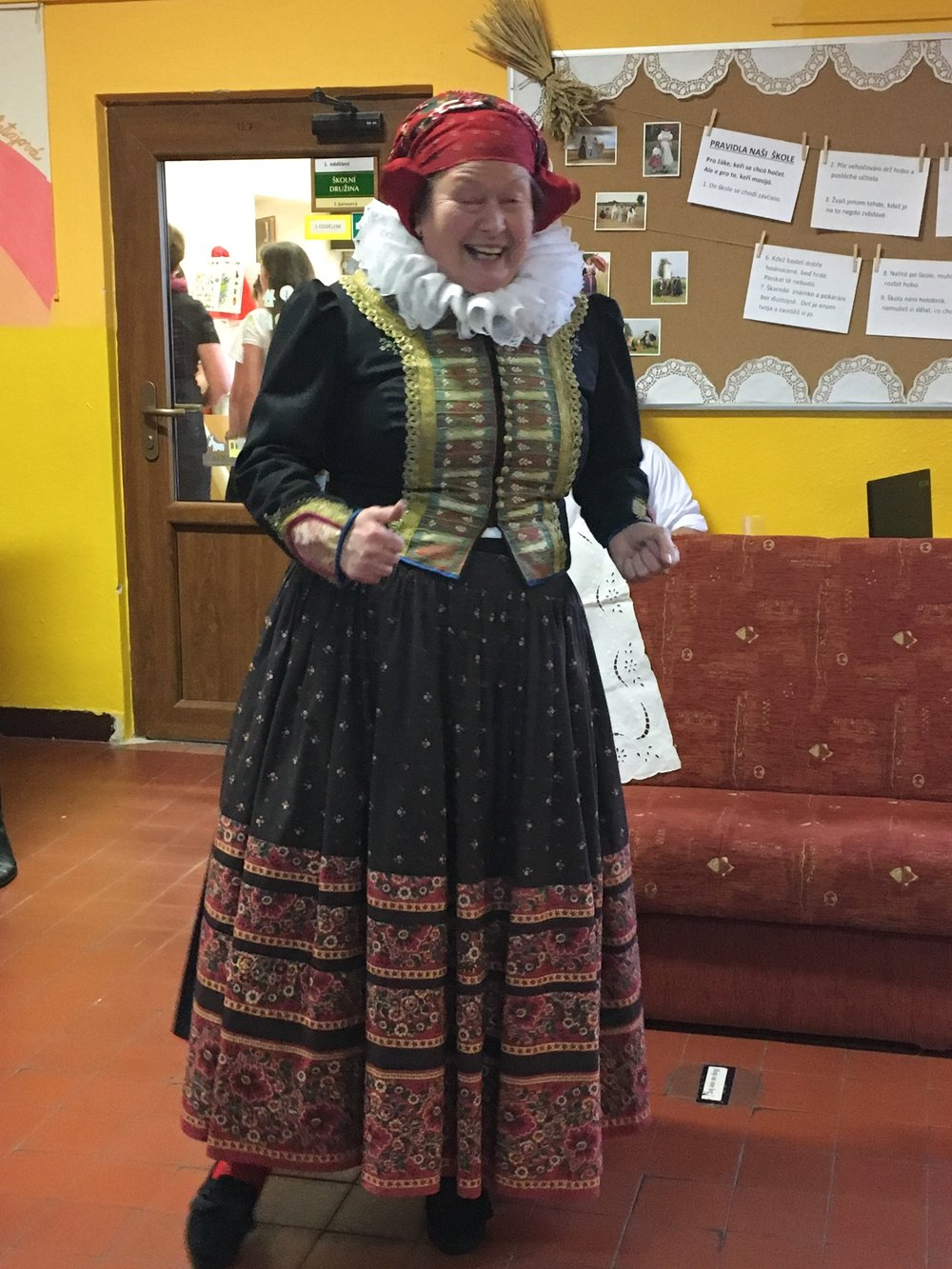One of Addey's teachers dressed in an old fashioned Czech dress, as she taught the students.