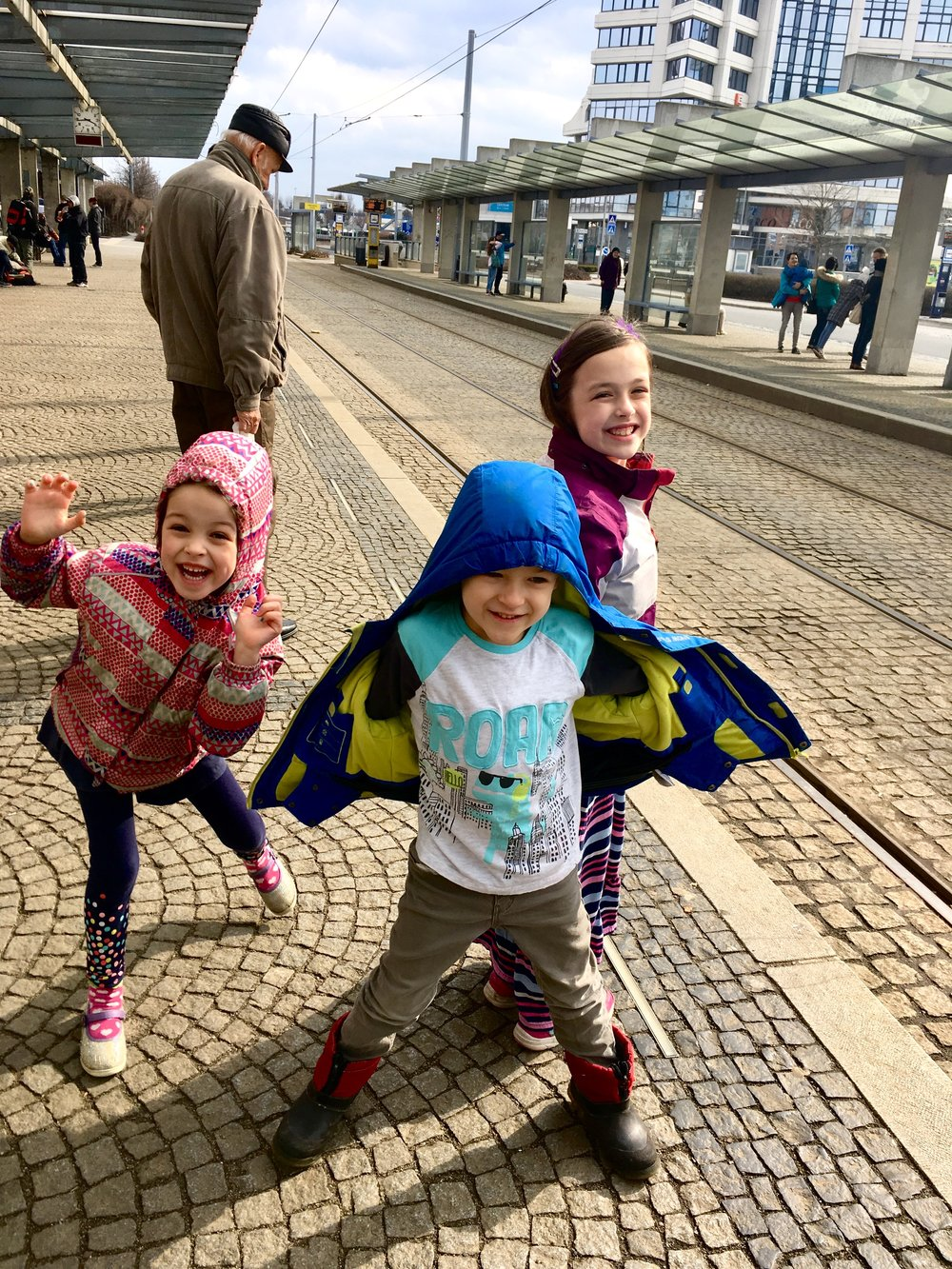 The kids getting ready for a ride on the Tram.