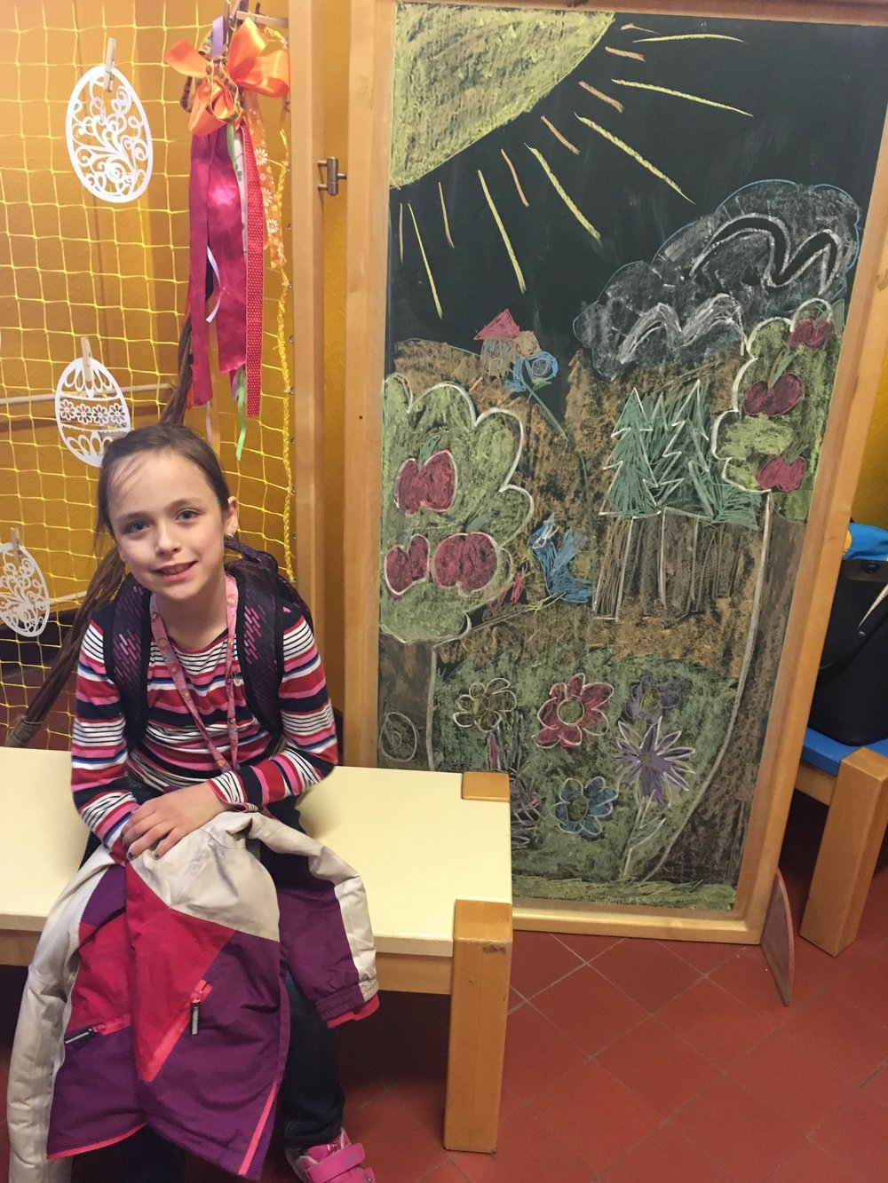 Addey's teachers like her art so much that they asked her to do this for the main entrance of the school during the Easter season.