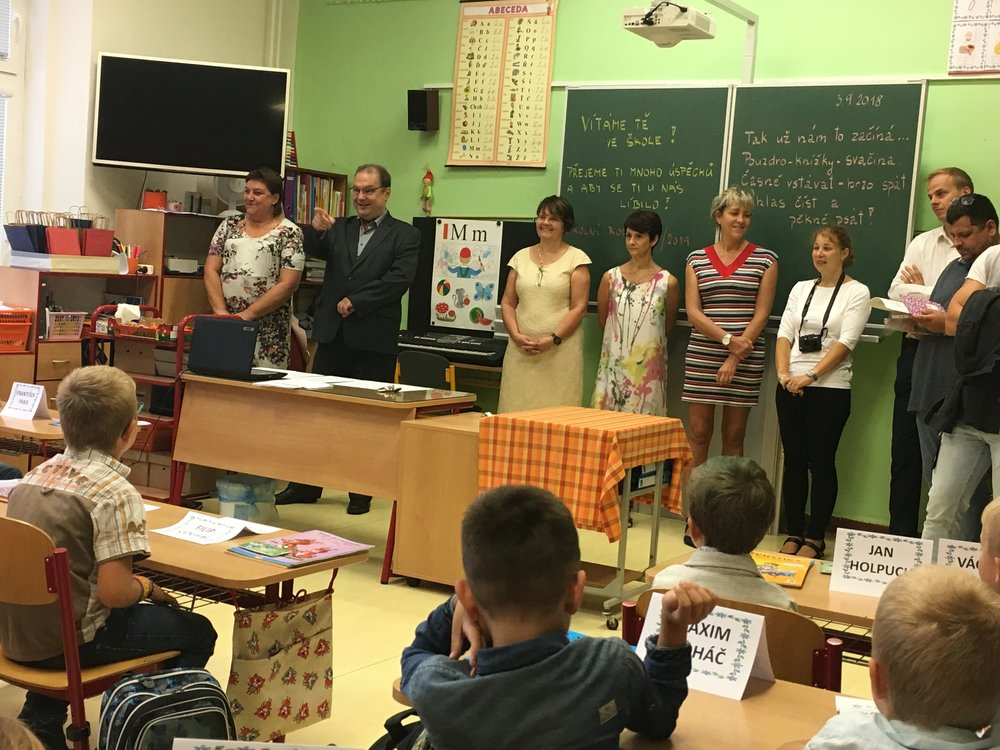 Meeting the administration of the kids' school