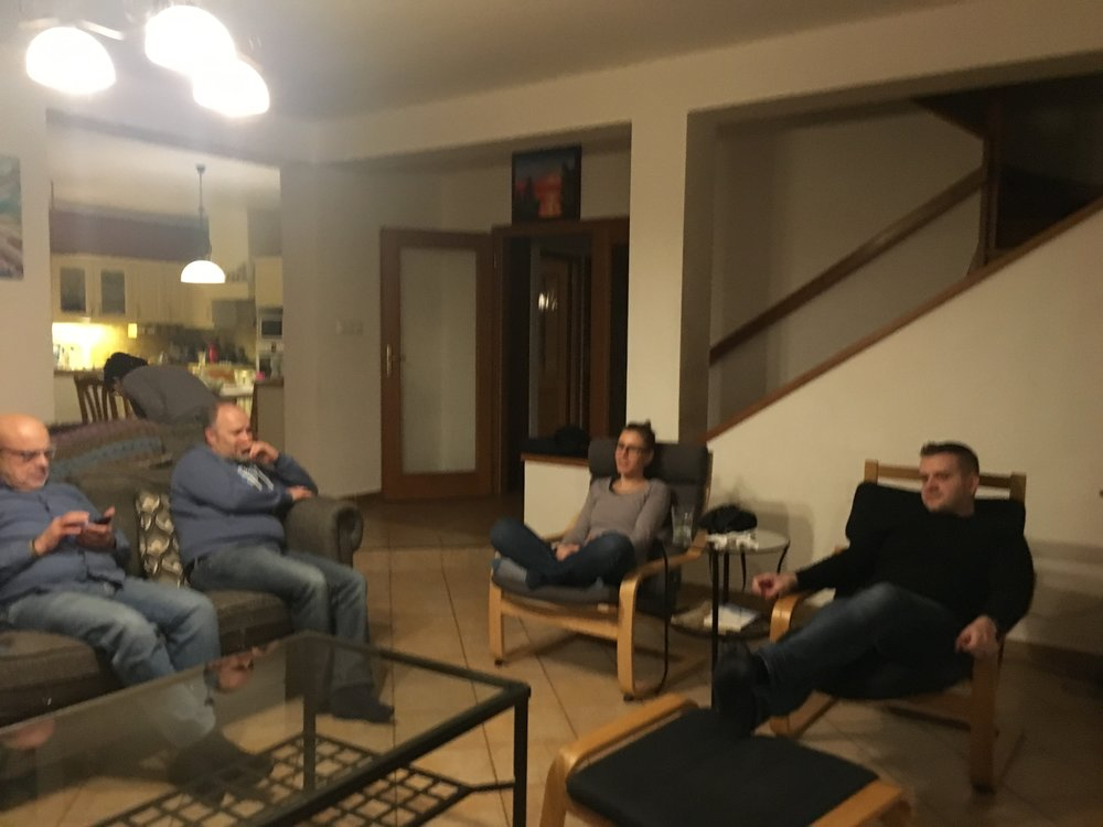 Our small group meets on Wednesday nights with 3 different nationalities (Czech, American, and Russian).