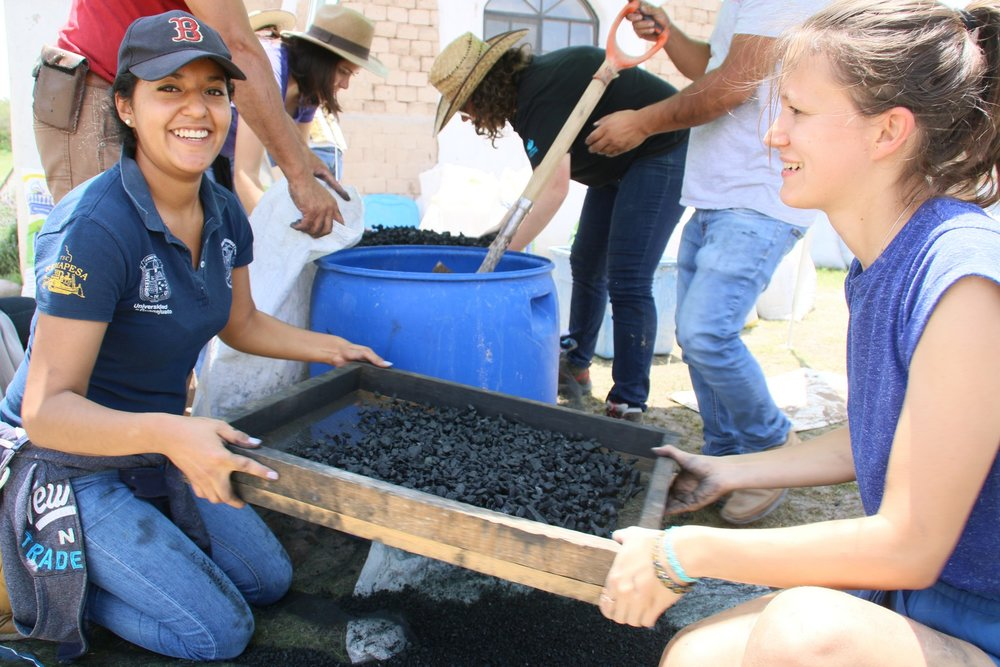 (2) Quemar, aplastar, tamizar y lavar el bio carbón que crearon en el gasificador