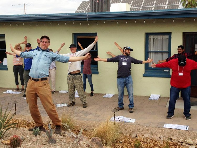 Saúl Juárez at Watershed Management Group's Rainwater Harvesting certification course (in the back on the right)