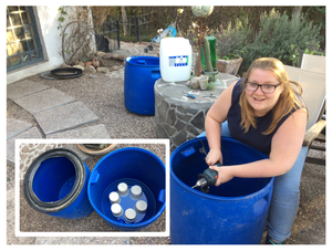 Sarah puts together a six-piece biological ceramic- filter for the column-testing setup.