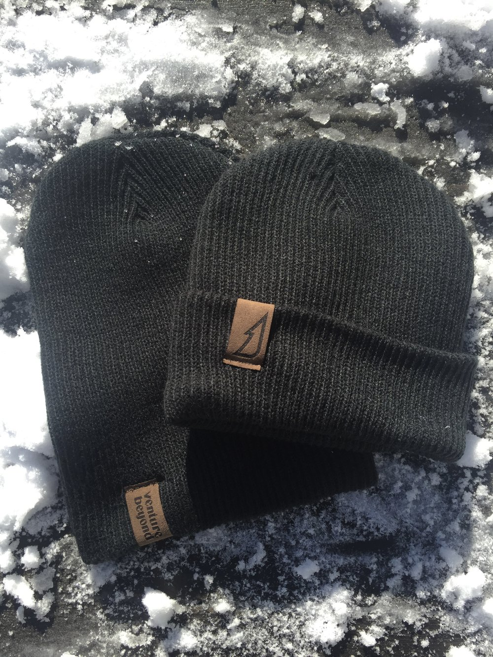 Ribbed Knit Toque with Sewn Faux Suede Patch