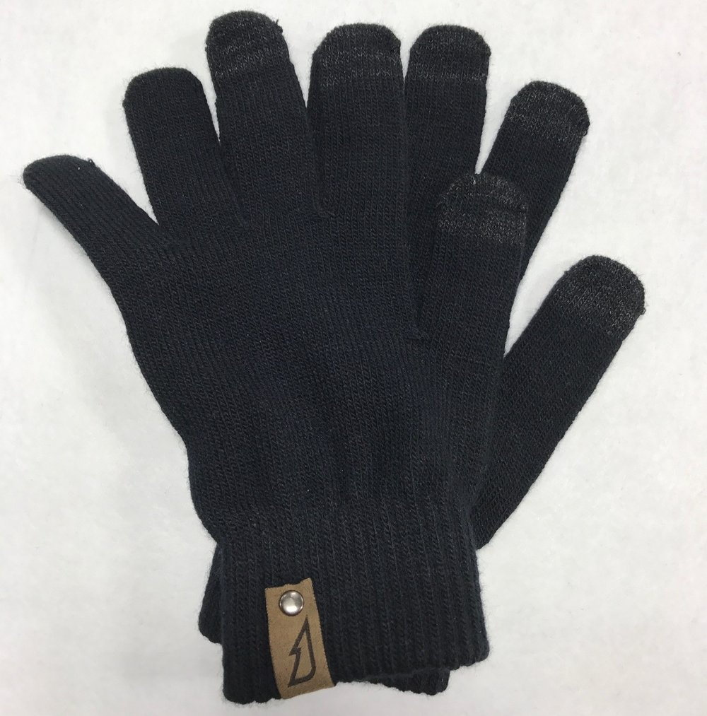 Touch Screen Gloves with Rivet Faux Suede Patch