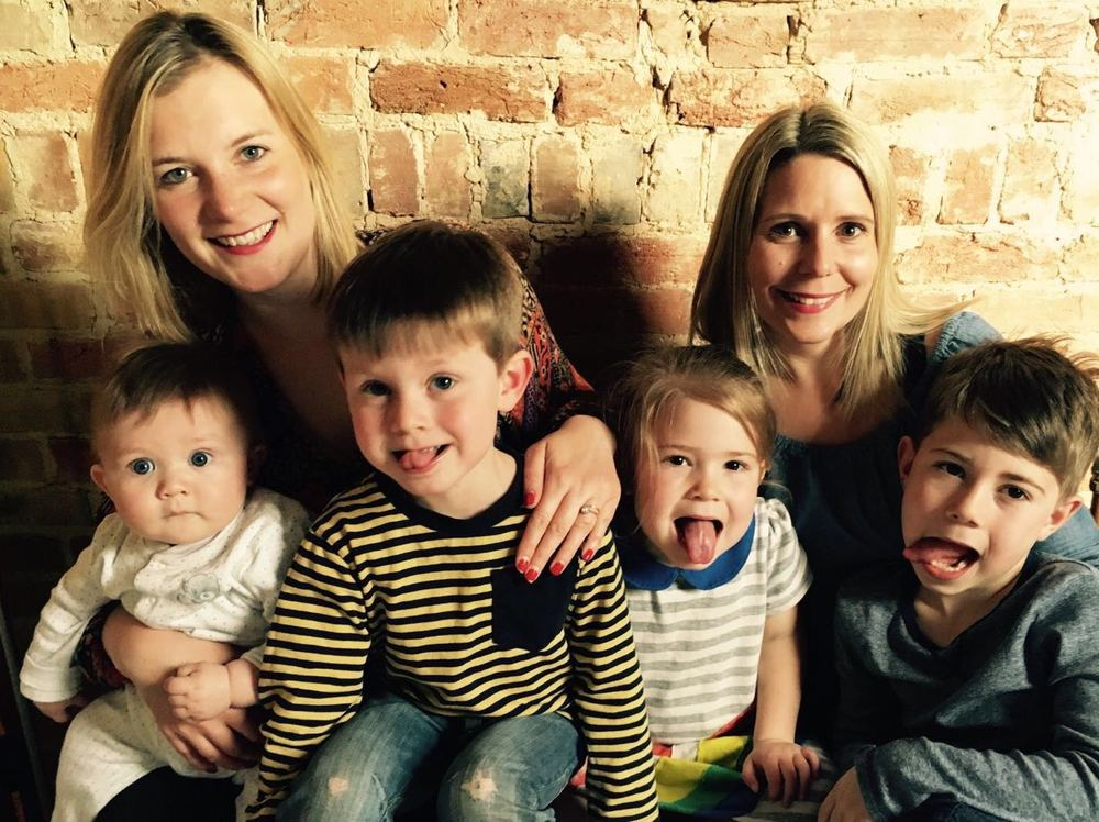 Mum's the Word brood...Founders Natalie & Laura with Ray (6 months) Teddy (3) Florrie (4) Noah (7)