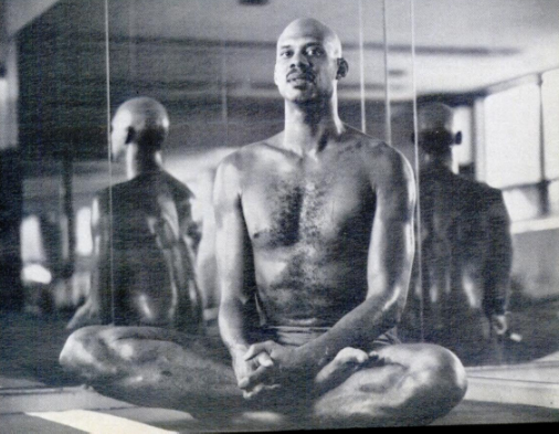 Abdul-Jabbar in Lotus Pose.