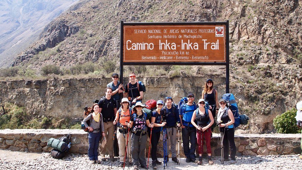 The Inca Trail begins ( Km 82, Piscacucho )