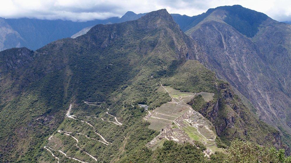 Looking down upon Machu Picchu from Huayna Picchu ( Peru )