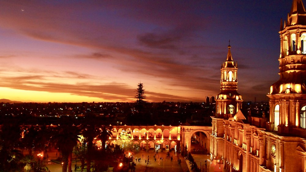 Plaza de Armas at night ( Arequipa, Peru )