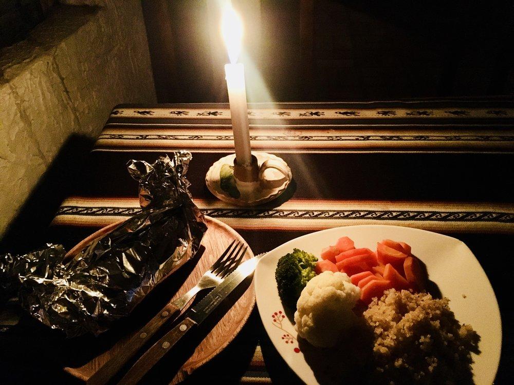 Dining in the dark at Las Velas ( Isla del Sol, Lake Titicaca, Bolivia )