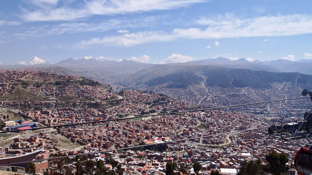 View from Mi Teleferico, on the way up to El Alto ( La Paz, Bolivia )