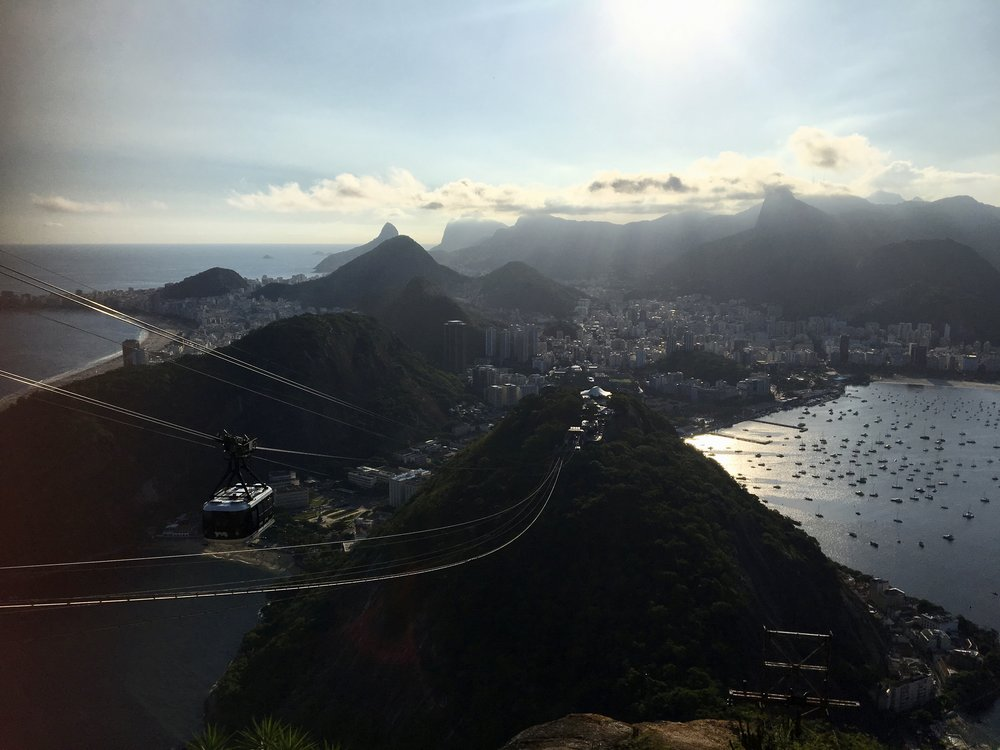 View from the top.Sugarloafs' name is said to be a reference to the mountains shape, which resembles the traditional shape of concentrated refined loaf sugar. ( Pao do Acucar, Rio de Janeiro, Brazil )