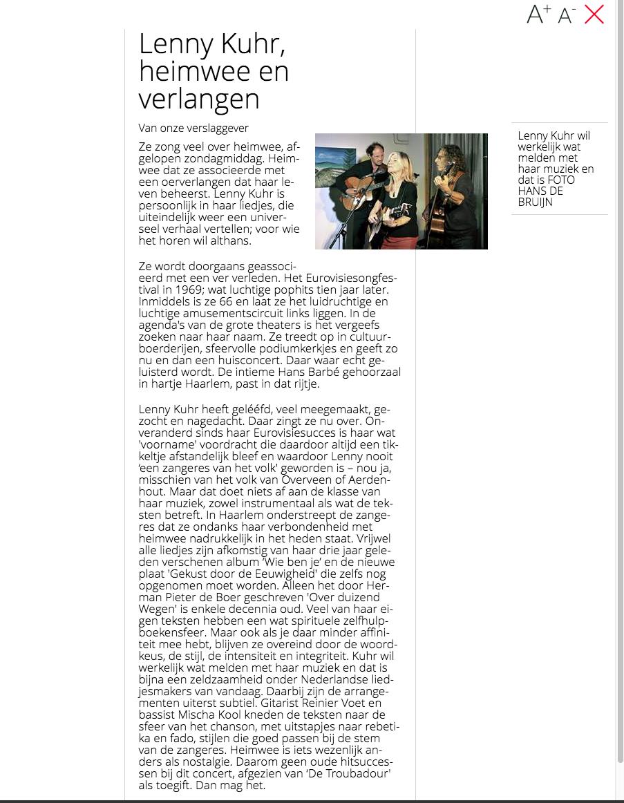 Haarlems Dagblad recensie