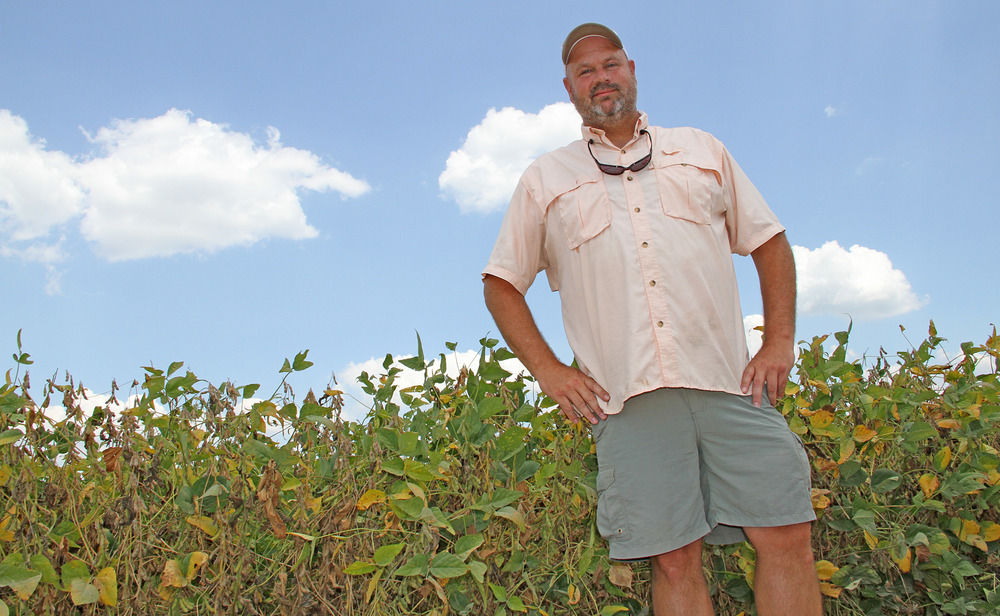 Matt Miles  in front of his soybean crop