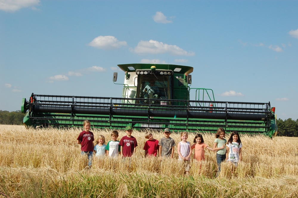 friends in front of a combine ready to harvest rice
