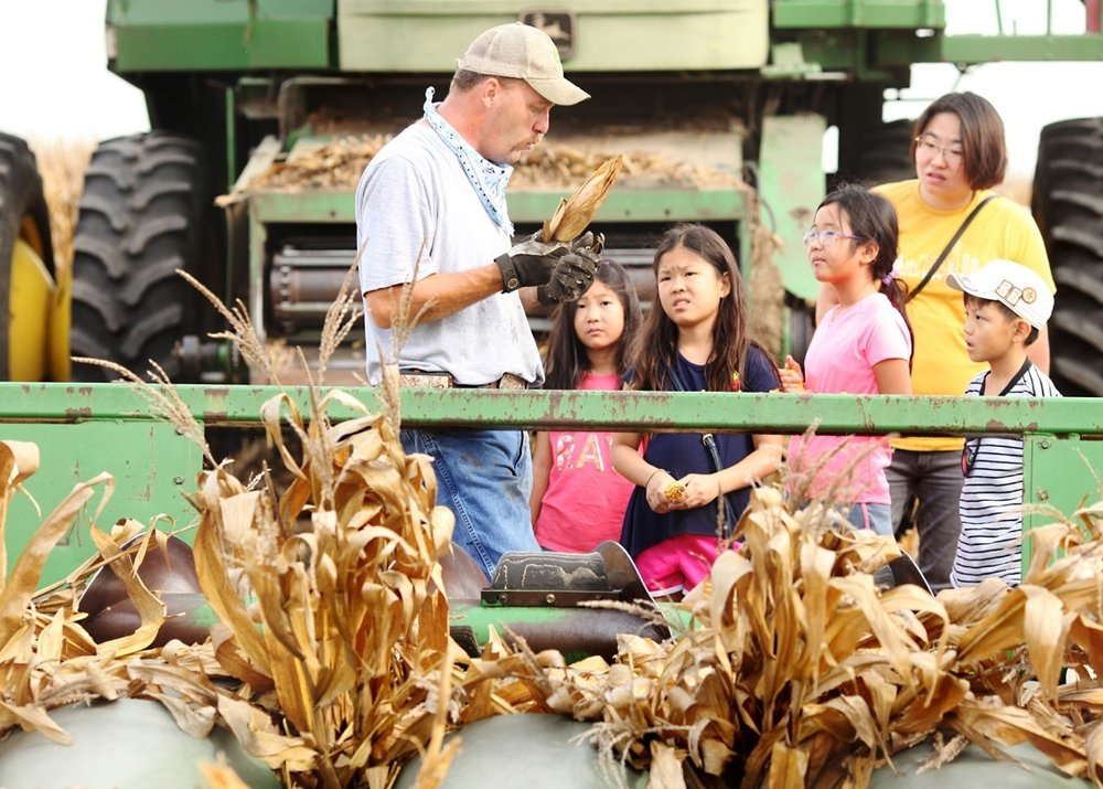 A farmer from explains corn harvest to a group of students from the city.