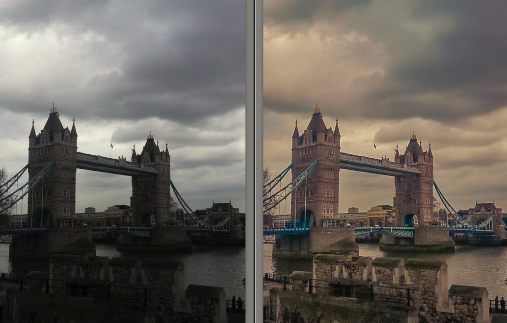 The before and after photos of a photo taken in London. (Photo by Emily Gibson)