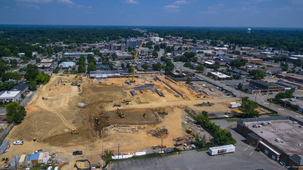 Aerial View of Downtown Construction in High Point North Carolina.
