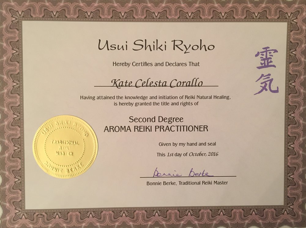 AROMA REIKI CERTIFICATION...on my way to Master... — The kate effect