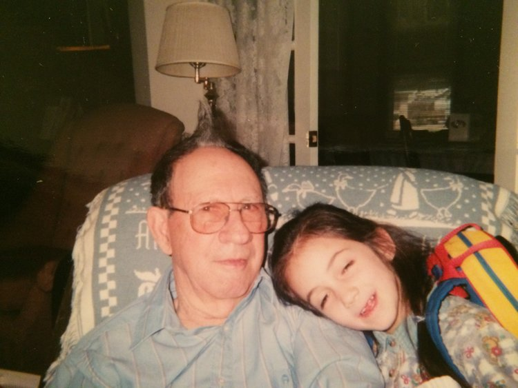 Me posing with Grandpa Smith after I had styled his hair.