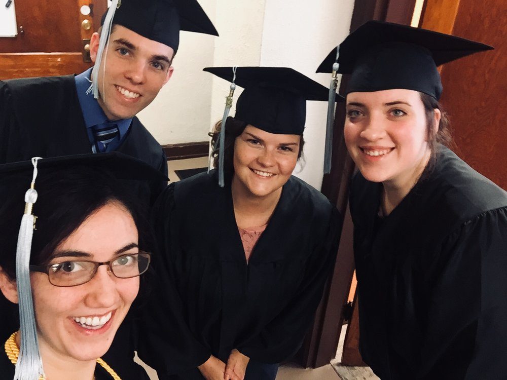 Posing with Education Majors before we came down the aisle — Travis Stroup, Heidi Potter, and Morgan Martin
