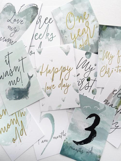 Dusty Boy Designs baby milestone cards,  €34.95
