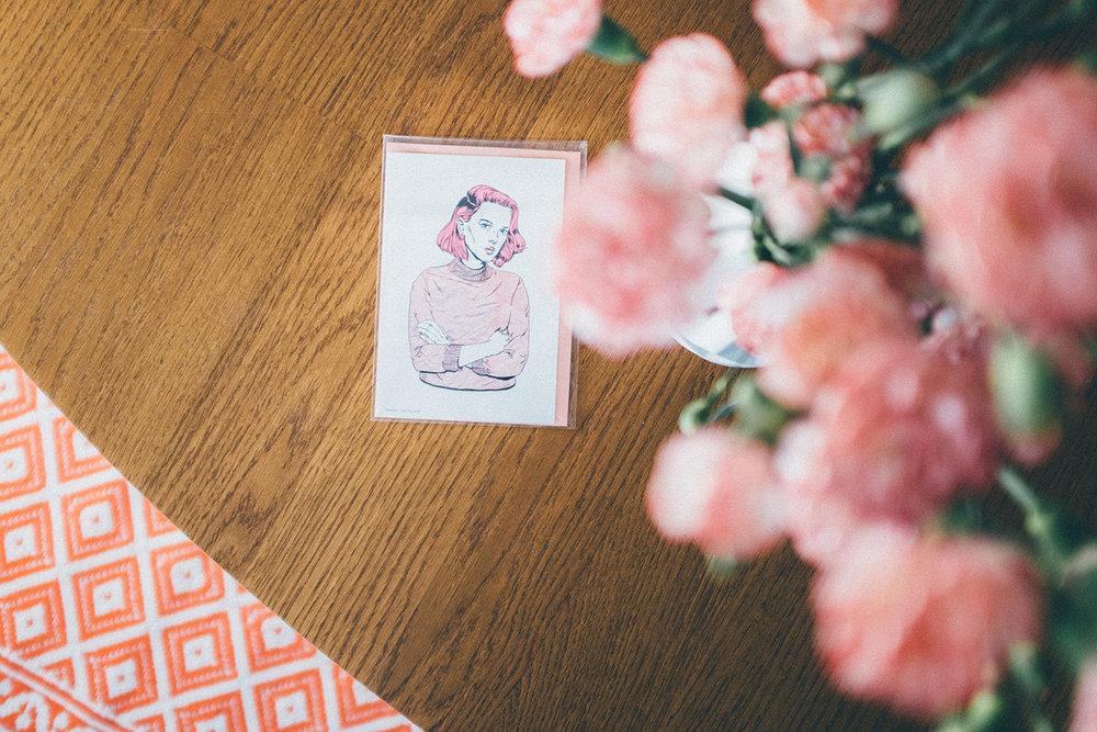 postcard art girl home interior