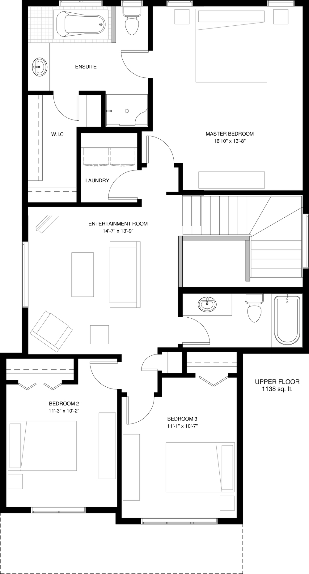 Upper Floor Optional Ensuite 1138 sq ft