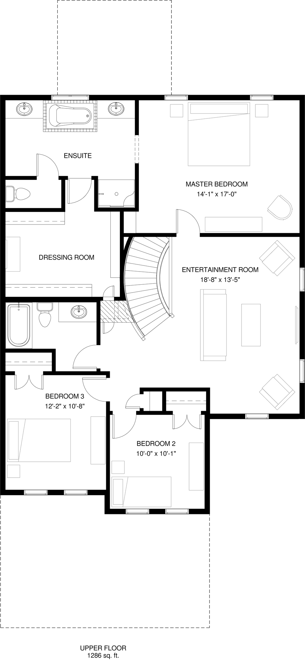 Upper Floor  1286 sq ft