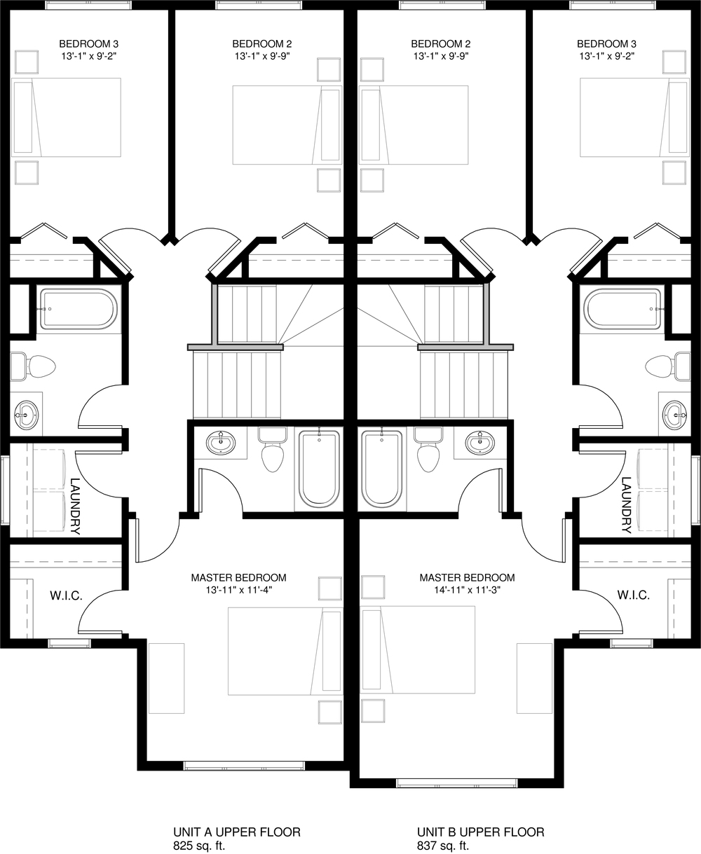 Upper Floor     Unit A 825 sq ft  Unit B 837 sq ft