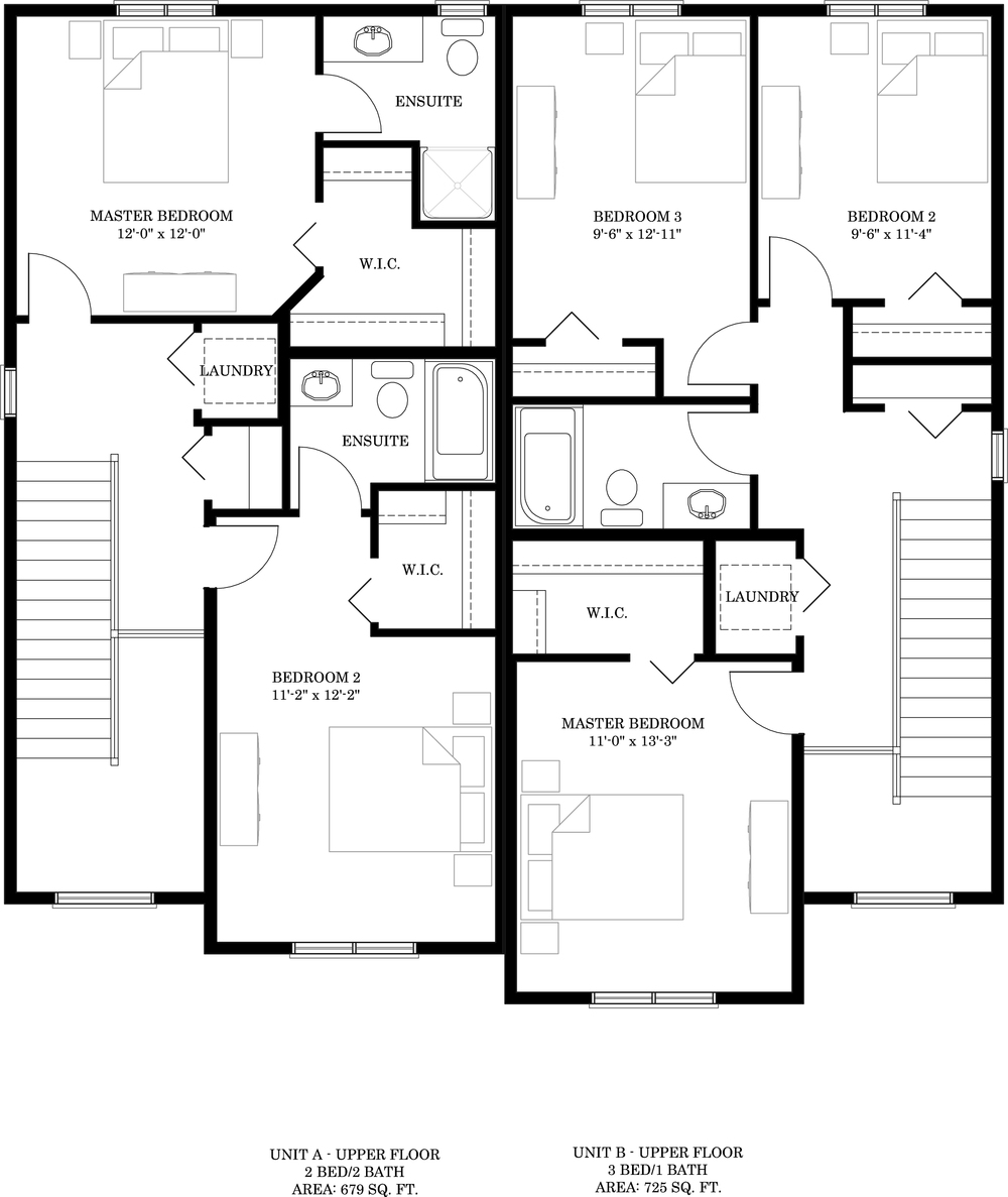 Upper Floor   Unit A 679 sq ft  Unit B 725 sq ft