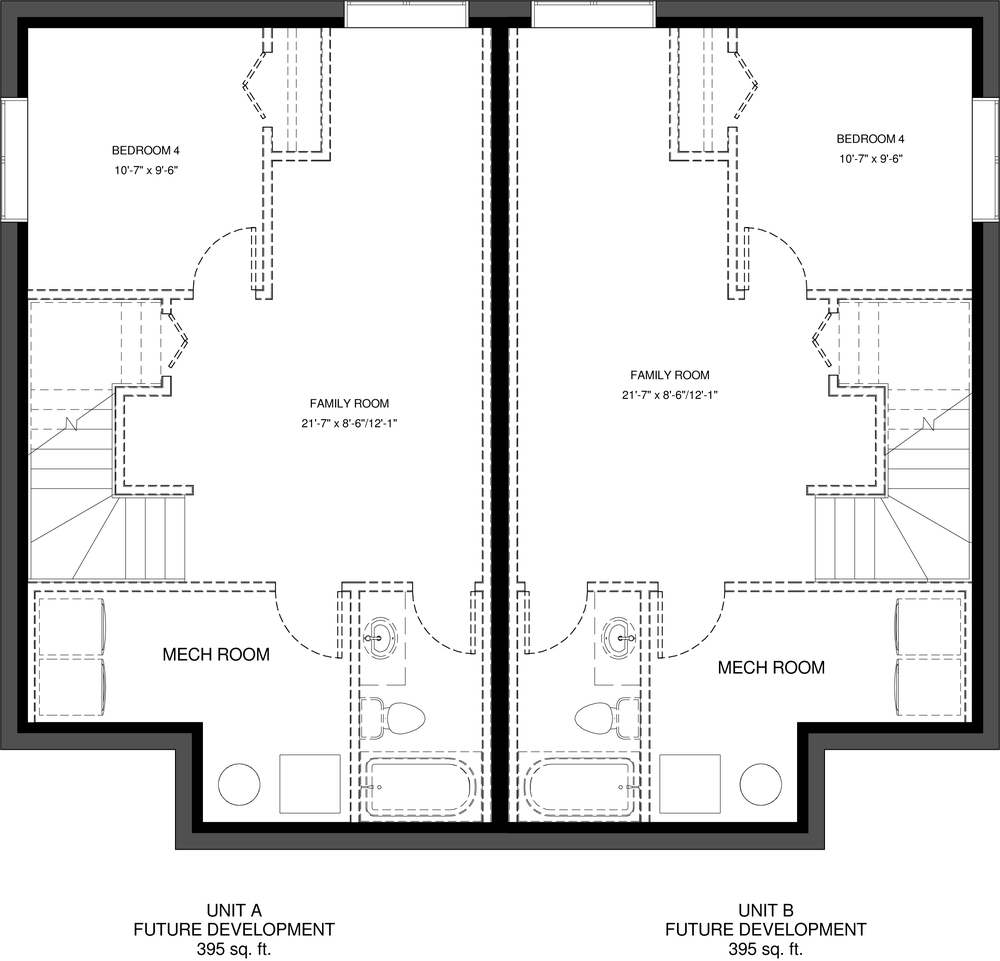 Lower Floor Future Development  395 sq ft per Unit