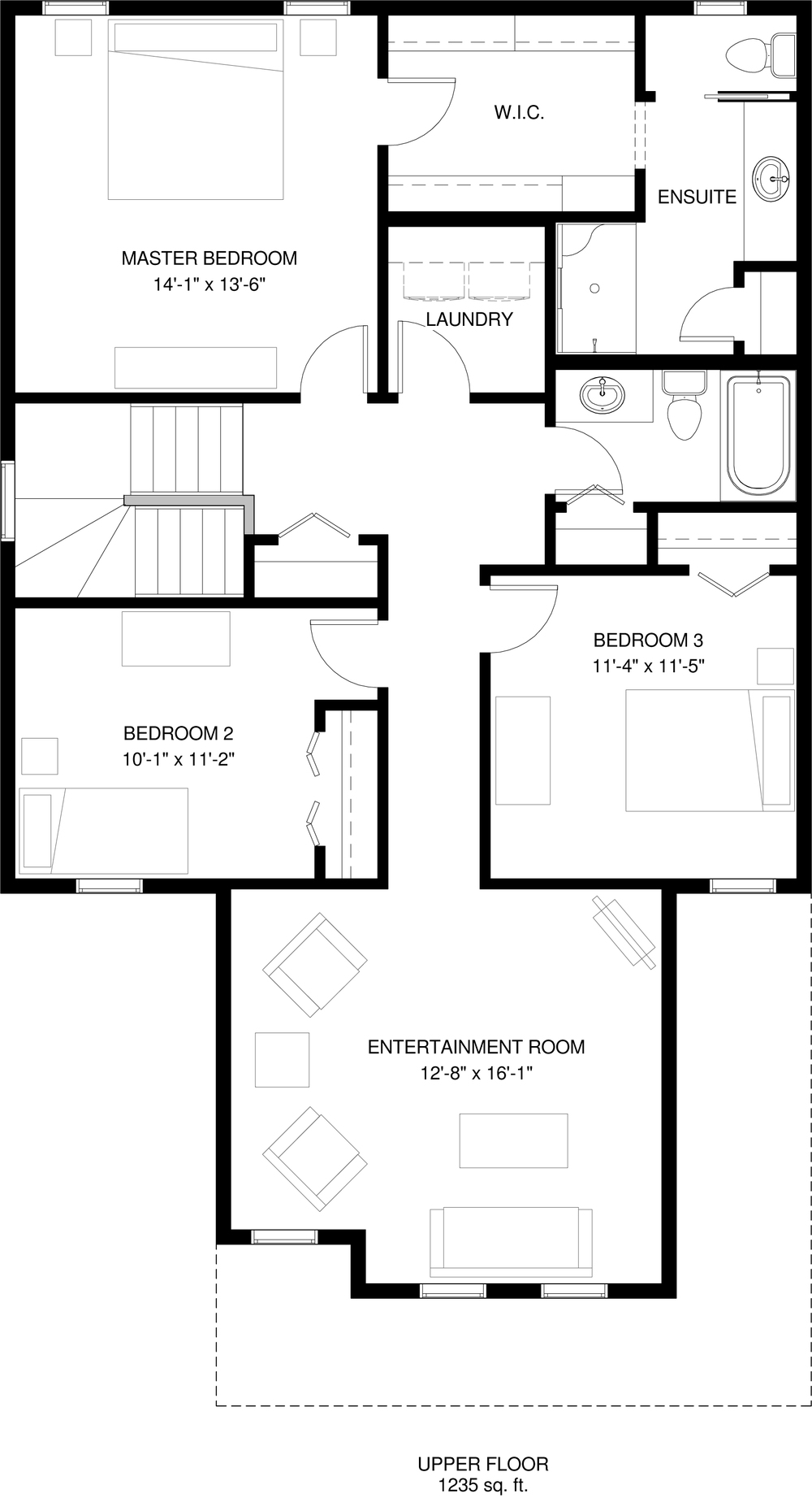 Upper Floor 1235 sq ft
