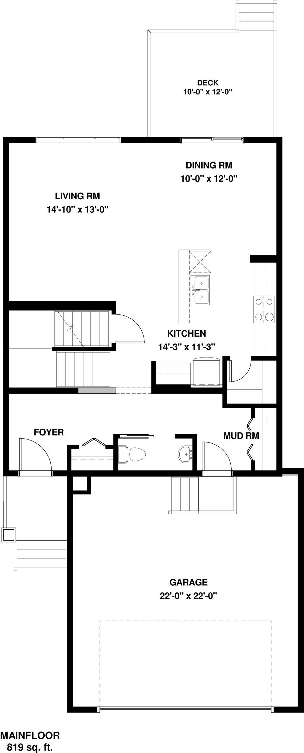 Main Floor 819 sq ft