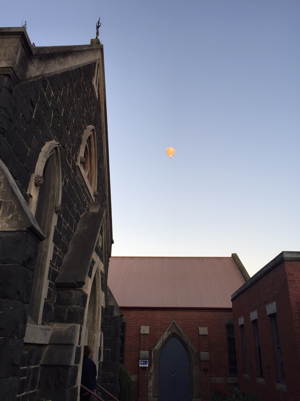 A hot air balloon greets us as we join for meditation early one Tuesday morning. photo AEC 2016