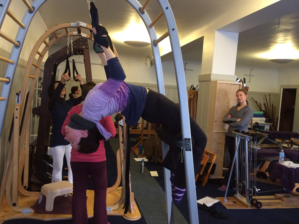Clare in a perfect arch in Deb's Archway course