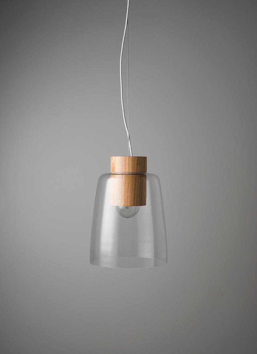 Clear/Oak Ombra Pendant Light $329
