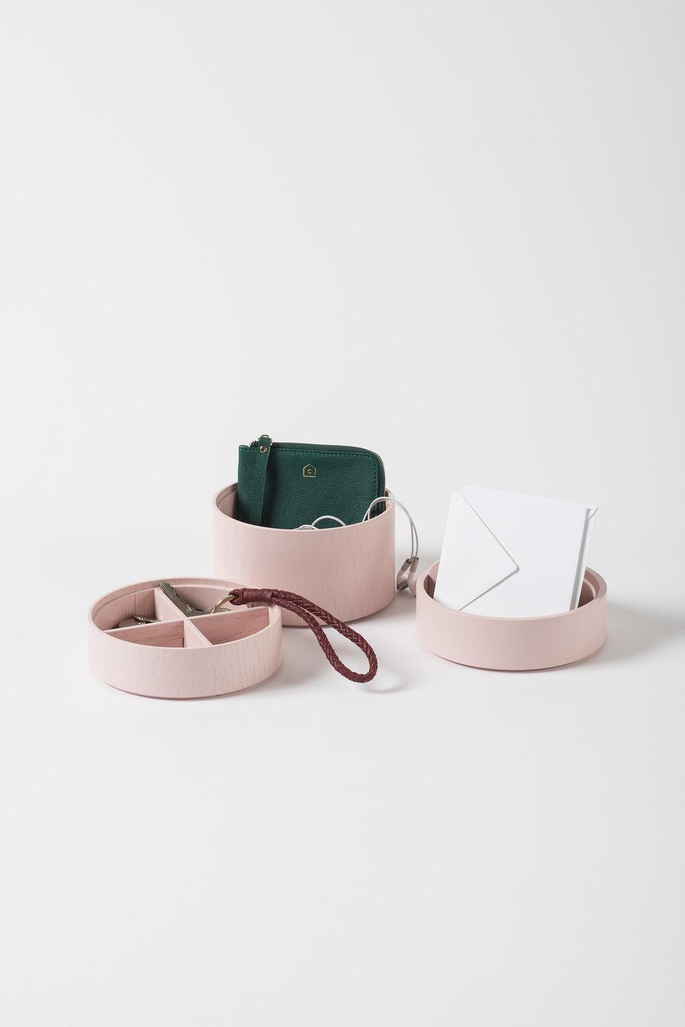 Small Pink Gaussian 3 Tier Vessel $149
